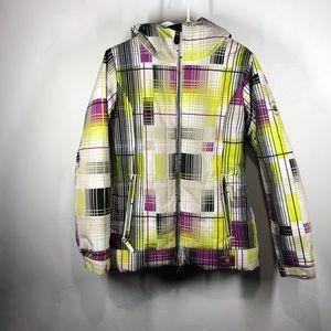 686 purple and yellow plaid ski jacket size small